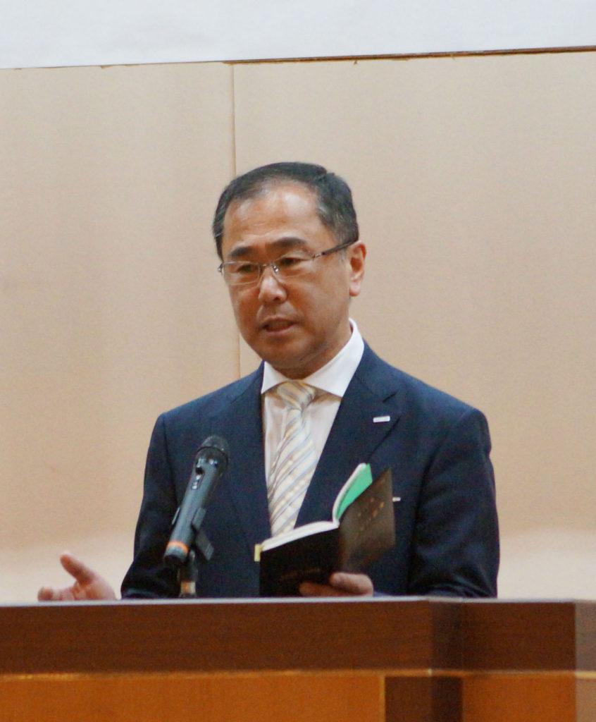 第29期の経営計画を発表する代表の斉藤
